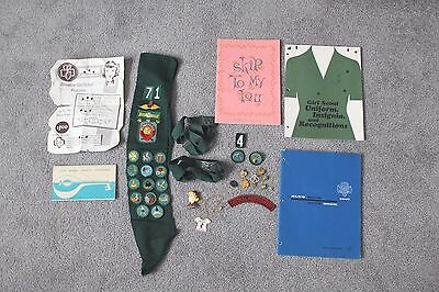 Group Lot Vintage Girl Scout Brownie  Belts Patches Books Pins Necklace