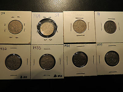 1928 29 30 31 32 33 34 35 Canada .05 Five Cents Nickel George V Lot Of 8 Coins