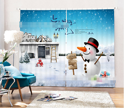 3D Snowman 724 Blockout Photo Curtain Printing Curtains Drapes Fabric Window CA