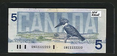 1986 Bank of Canada $5 SOLID RADAR GNC 2222222 Serial Number. Scarce banknote.