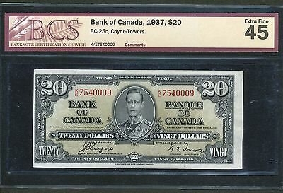 1937 $20 Bank of Canada. BCS EF-45 EF-AU. BC-25c. Coyne-Towers banknote.