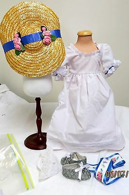 Complete American Girl Felicity Summer Outfit & Mob Cap Shoes Ribbon Hat Too