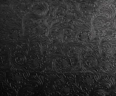 Black Western Embossed Floral Faux Leather Vinyl Upholstery Fabric Per Yard
