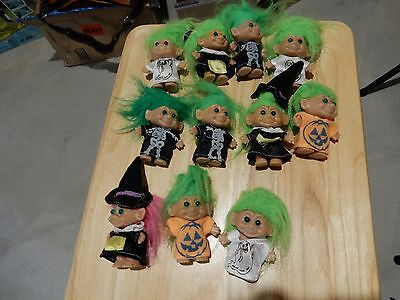 "VINTAGE RUSS ~2"" HALLOWEEN TROLL DOLLS w/ GREEN HAIR AND COSTUMES"