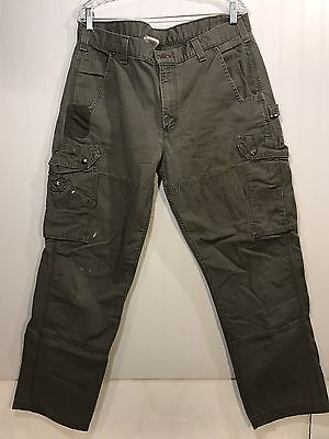 Men's CARHARTT Green Relaxed Fit Bootcut Cargo Work Pant Size 38x32, SKU14