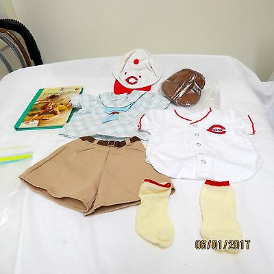 """American Girl 18"""" Kit Reds Fan Baseball Outfit Glove & Short Story Book"""