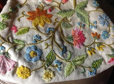 Erica Wilson Crewel Embroidery Purse Handbag Vintage Completed