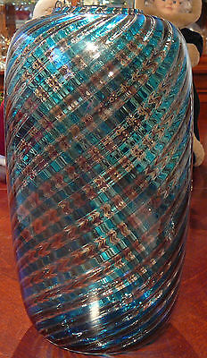 """13 1/2"""" MURANO signed VENINI  VASE """"A CANNE""""  Turquoise Glass"""