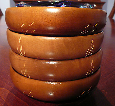 4 Vintage Baribocraft Teak Wood Salad Bowls Carved Wheat Design