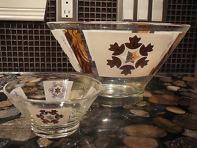 Vintage 50's Culver White & Gold Chip And Dip Glass Bowl Set