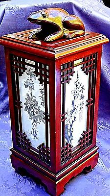 Vintage Chinese Rosewood Carved Decorated Lantern  Lamp Electric W/frog On Top