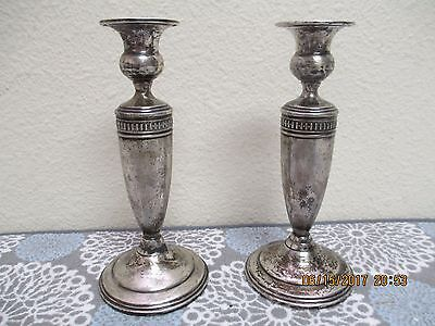 Pair Of Mueck Carey <M> 262 Sterling Silver Weighted Candlesticks - 8""