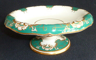 Victorian Copeland China Comport / Footed Dish White / Green / Gold c1851-1885