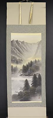 JAPANESE HANGING SCROLL ART Painting Scenery Asian antique  #E5778