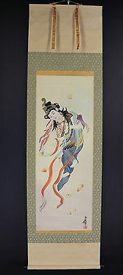 JAPANESE HANGING SCROLL ART Painting  Asian antique  #E5772