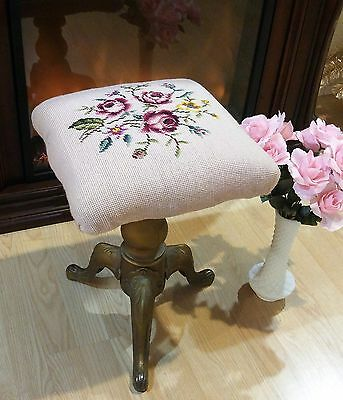 pink antique ROSES needlepoint top Stool * Metal / wood sHABBY bAsE CHICAGO TONK
