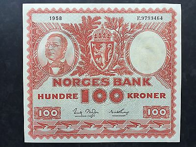 Norway 100 Kroner P33b Signed Brofoss Thorp Dated 1958 EF+