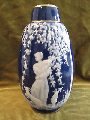 "Early 20th c porcelain Limoges ""pate sur pate"" large Vase M Chauffriasse"