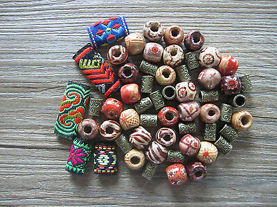 55 Boho Fabric And Wood And Bronze Dreadlock Dread Hair Braid Beads Cuff Clips