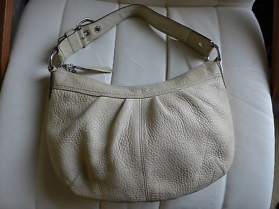 Authentic Coach Beige Pebbled Leather Large Shoulder Bag