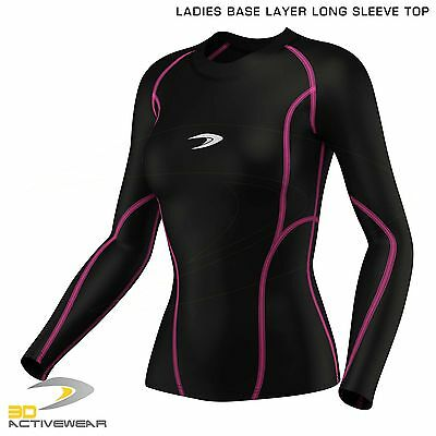 Active Ladies Womens Base Layer Long Sleeve Compression Armour Top Gym Sports
