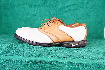 Nike Air Wickie Last White and Tan Mens Golf Shoes Size UK 10.5
