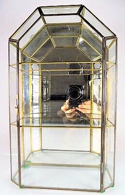 Vintage Glass&brass~Mirrored Curio Cabinet/display Case~2 Shelves~Wall&tabletop