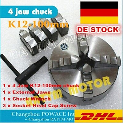 4 Jaw Chuck K12-100mm Self Centering CNC Lathe Engraving Machine Milling Tool
