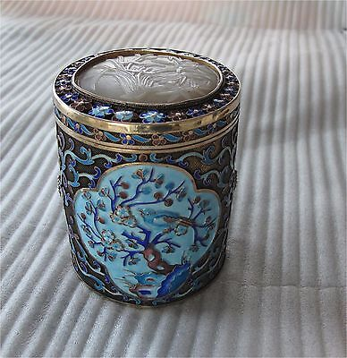 Chinese celadon jade & gilded sterling silver enamel tea caddy export 332 gr.
