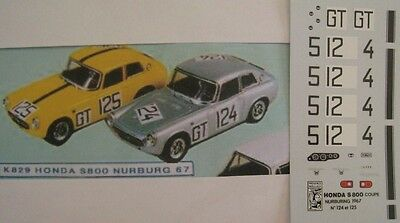 HONDA S 800 n° 124 / 125 NURBURGRING 1967  DECAL 1/43e