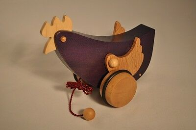 SUPERBE travail artisanal poule à tirer jouet Wooden baby pull toy Holzspielzeug