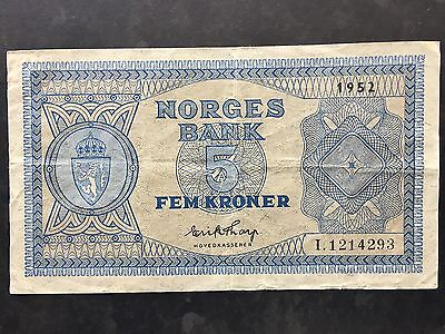 Norway Five 5 Kroner P25d Signed Thorp Dated 1952 Fine+