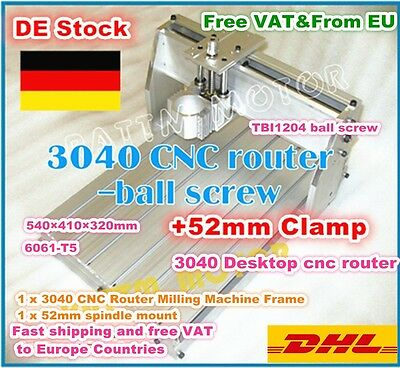 3040 Desktop CNC Router Ball Screw Frame Engraver Milling Machine Kit+52mm Clamp