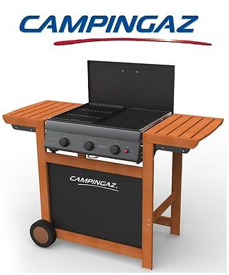 Barbecue A Gas Gpl Adelaide Woody 3 Con Bruciatori Ghisa Marca Campingaz