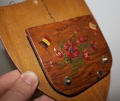 Vintage 1945 Hand-made WW2 Belgium Plaque Wood D-Day USA Trench Art