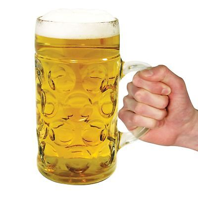 Giant Glass Beer Stein Oktoberfest Tankard Drinking Glass Holds 1 Litre