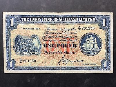 Scotland One 1 Pound PS816a Union Bank Dated 1st September 1953 Fine