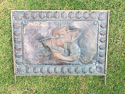 Vintage Copper Brass Nautical Ship Fireplace Screen Stand