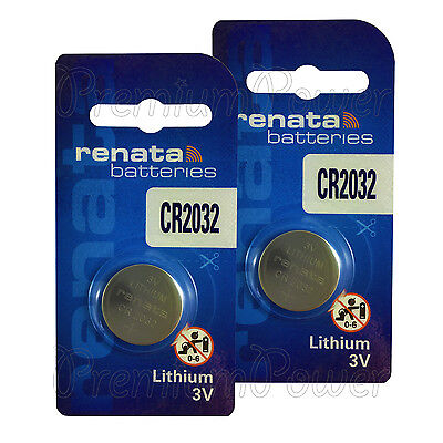 2 x Renata CR2032 batteries Lithium 3V Coin cell Watch ECR2032 BR2032 EXP:2024
