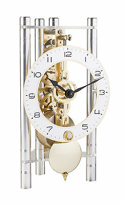 HERMLE Table Skeleton Mantel Clock mechanical 8-day movement silver Made Germany