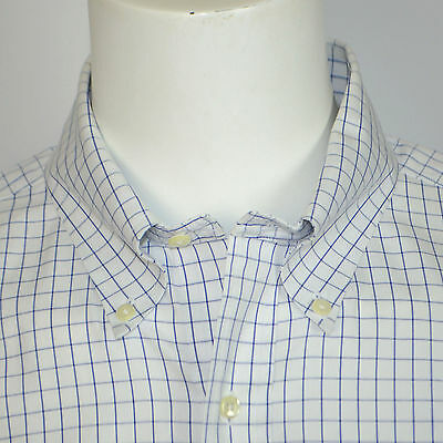 BROOKS BROTHERS Non Iron Supima Cotton Dress Shirt Sz 16.5 - 32 White Blue