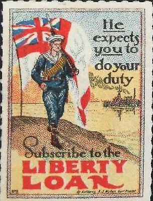 Australia war savings red Liberty Loan Label MNH