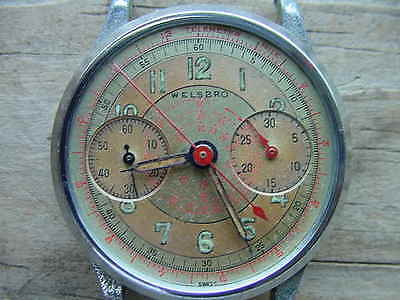 Vintage WELSBRO Chronograph Watch Case Movement Parts only not complete