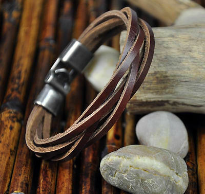 Surfer MENS BRAIDED LEATHER WRISTBAND Bracelet Cuff Brown NEW