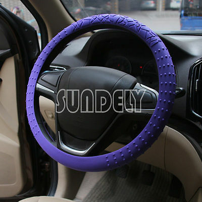 Skidproof Car steering wheel cover 36cm - 40cm Silicone Soft Cover Purple