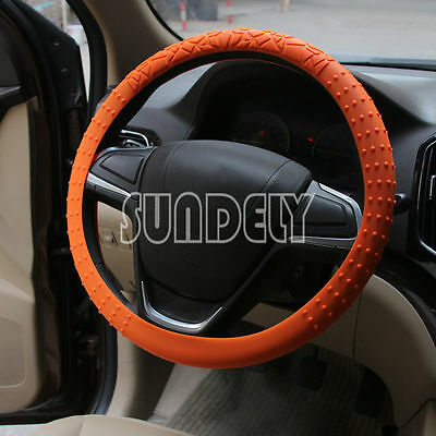 Skidproof Car steering wheel cover 36cm - 40cm Silicone Soft Cover Orange