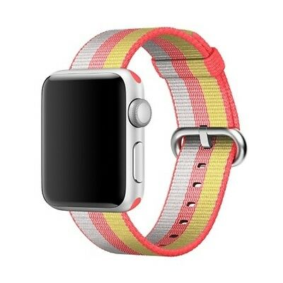 i-TECH Red For Apple Watch 42mm Stripe Woven Nylon Watchband