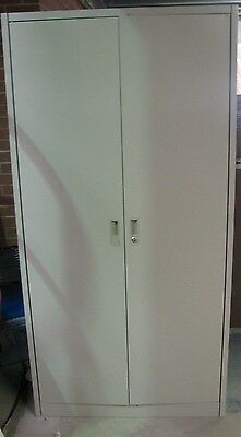 Large Metal Double Door Storage Cabinet with 4 Shelves in Grey (Collection)