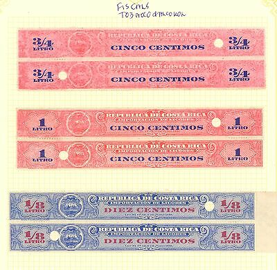 COSTA RICA 1863-1920 STAMP ALBUM PAGES x6 TELEGRAPHS FISCALS TOBACCO: RA CARTER