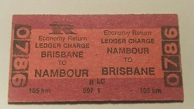 Queensland Railways Train Ticket Brisbane To Nambour Ledger Charge